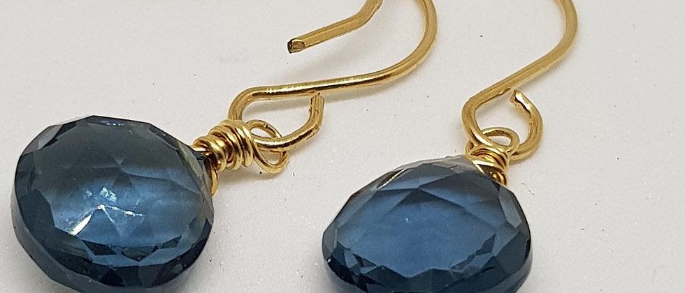 Blue Quartz Heart Briolettes - Gold Filled