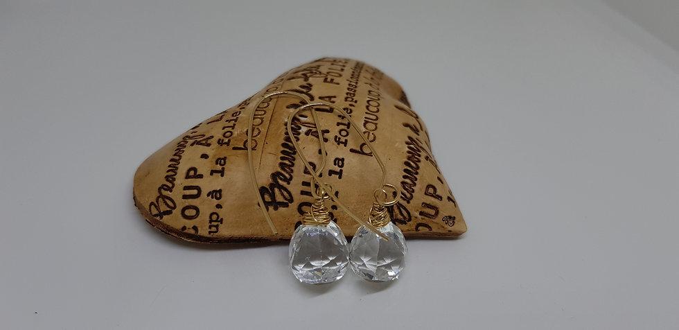 Rock Crystal Trillion Earrings