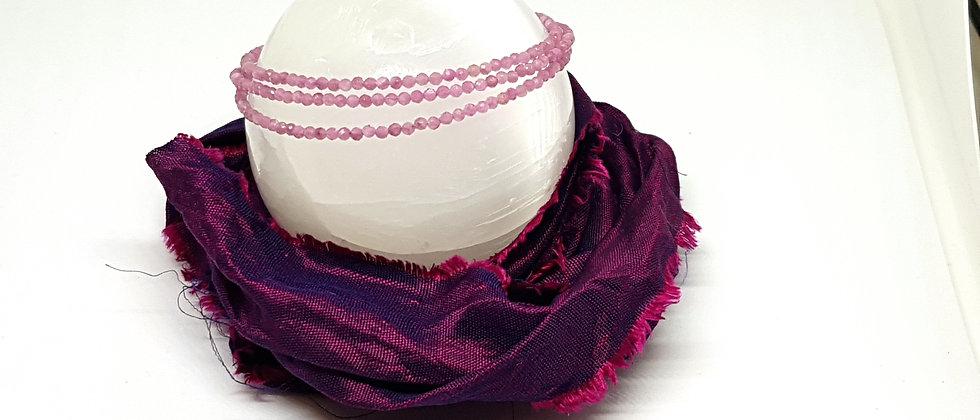 Pink Tourmaline - Triple Bracelet or Necklace