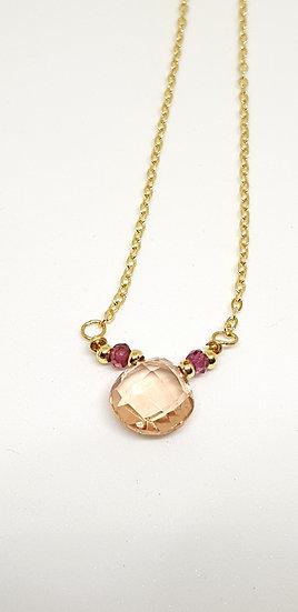 Pink Quartz & Rhodolite Garnet pendant necklace