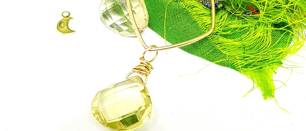 Lemon Quartz Geométrie - Gold Filled