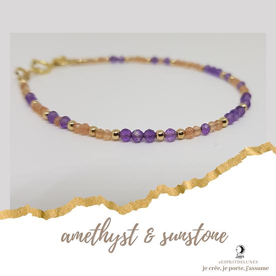 Amethyst & Sunstone Gold Filled Bracelet - Esprit de Lunes