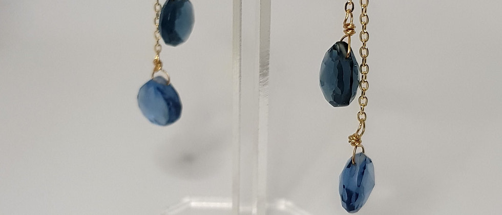 Handmade gold drop earrings - sparkling faceted cut blue quartz