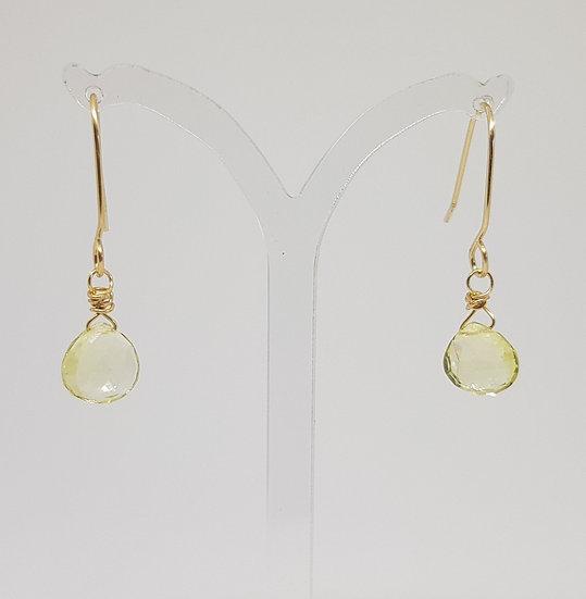 Natural lemon Quartz Heart Briolettes - Gold Filled