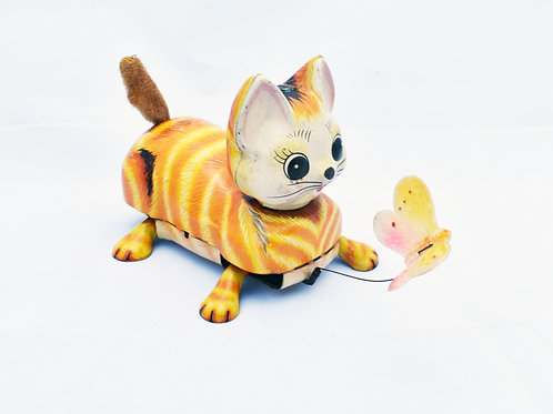 Nomura Metal Wind Up Orange Cat Chasing Butterfly