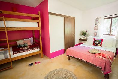 beautiful room with three beds