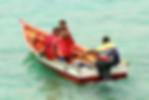 3 man in a boat in the ocean
