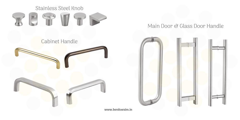 Manufacturer exporter of SS knob, Cabinet handle, wardrobe handle, main door handle, glass door handle