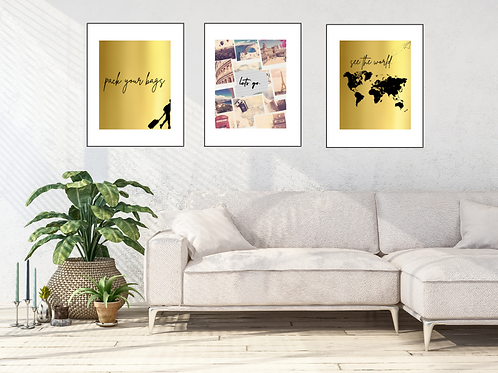 Gallery Wall Set Pack Your Bags Let's Travel