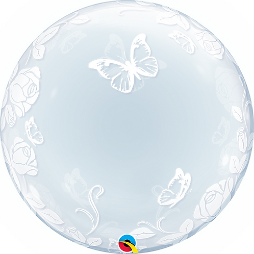 """24"""" Butterfly & Roses Bubble Balloon"""
