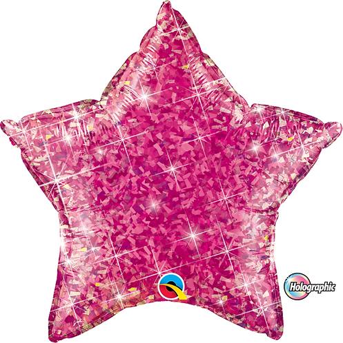 """18"""" Glitter Pink Star Foil Balloon"""
