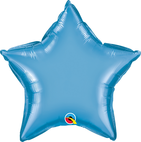 "18"" Chrome Blue Star Foil Balloon"