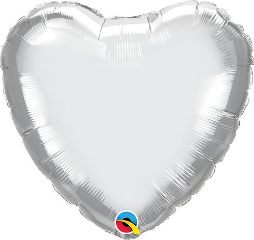 """18"""" Chrome Silver Heart Foil Balloon"""