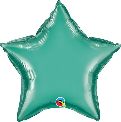 """18"""" Chrome Green Star Foil Balloon"""