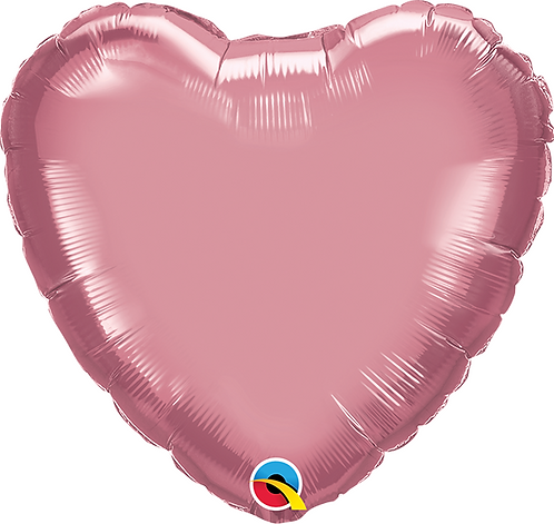 "18"" Chrome Mauve Heart Foil Balloon"