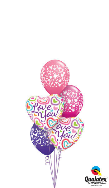 Love You Foil & Latex Balloon Cluster