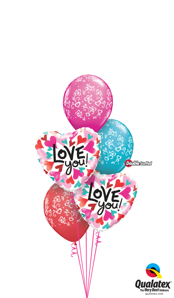 Love You Foil & Latex Cluster
