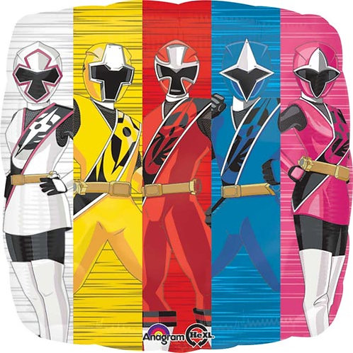 """Power Rangers 18"""" Foil With 2 Latex To Match"""