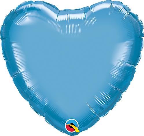 """18"""" Chrome Blue Heart Foil Balloon"""