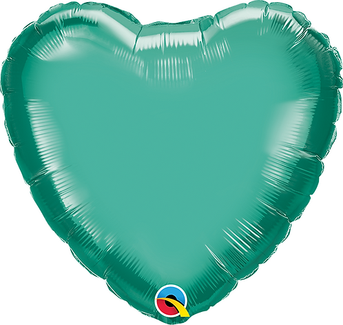 "18"" Chrome Green Heart Foil Balloon"