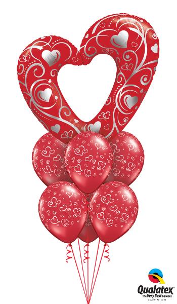 Large Heart & Foil, Latex Cluster