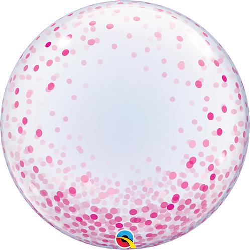 """24"""" Pink Confetti Design Bubble Balloon"""