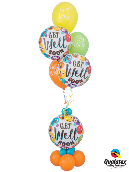 Get Well Balloon Foil & Latex Cluster With Base