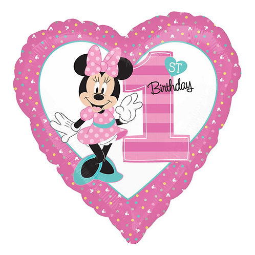 "Minnie Mouse Number 1 18"" Foil With 2 Latex To Match"