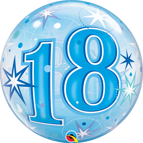 Blue Bubble Balloon Age 18 - 60 Open Birthday