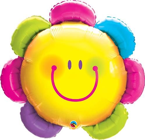 Large Smiley Flower Face Foil Balloon