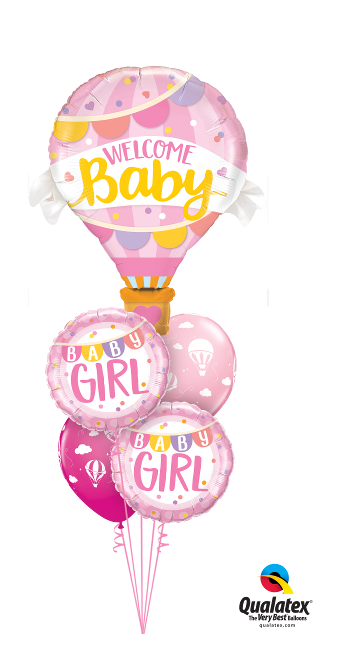 Large Baby Girl Foil& Latex Cluster
