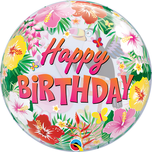 Tropical Happy Birthday Bubble Balloon