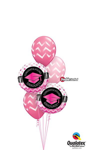 Pink Graduation Foil & Latex Cluster