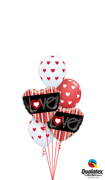 Love Foil & Latex Balloon Cluster