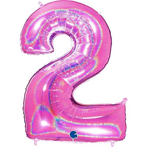 """Holo Glitter Pink 34"""" 0 - 9 Number Foils"""