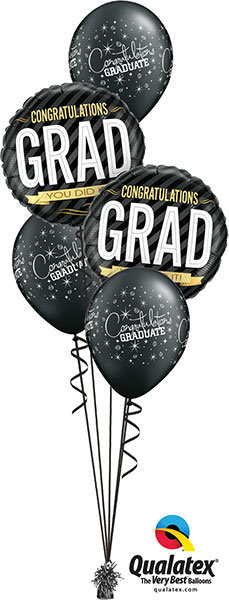 Graduation Foil & Latex Balloon Cluster