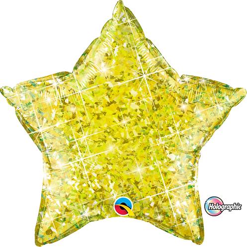 "18"" Glittery Yellow Star Foil Balloon"