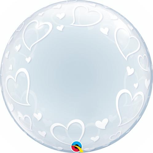 """24"""" Heart Patterned Bubble Balloon"""