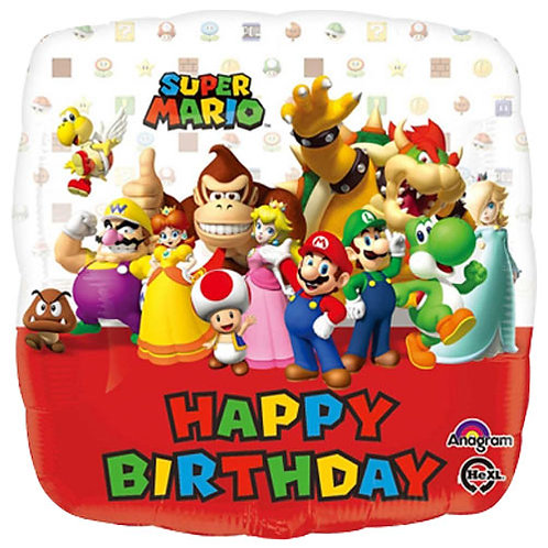 """Mario 2 Birthday 18"""" Foil With 2 Latex To Match"""