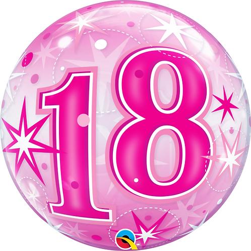 Pink Bubble Balloon Age 18 - 60 Open Birthday