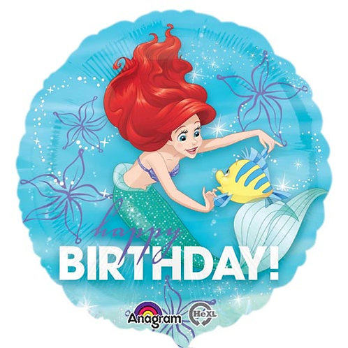 "Disney Ariel  18"" Foil With 2 Latex To Match"