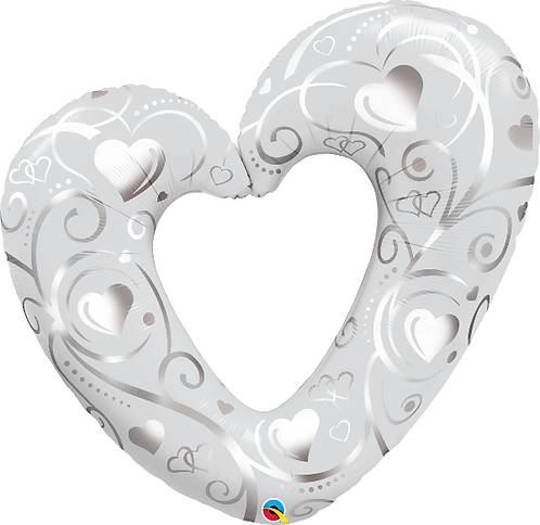 Large Silver Heart Foil Balloon