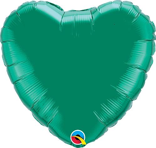"""18"""" Green Heart Foil Balloon"""
