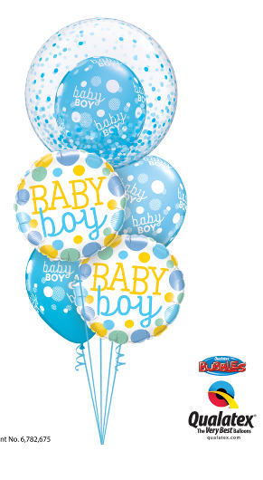 Baby Boy Bubble, Foil & Latex Cluster