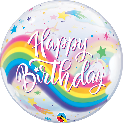 Rainbow Theme Happy Birthday Bubble Balloon