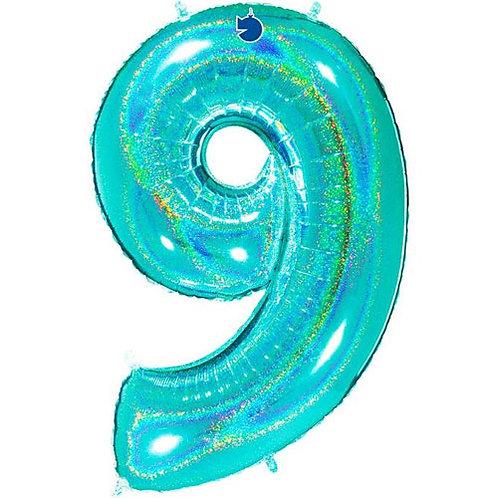 "Holo Tiffany Blue 34"" 0 - 9 Number Foils"