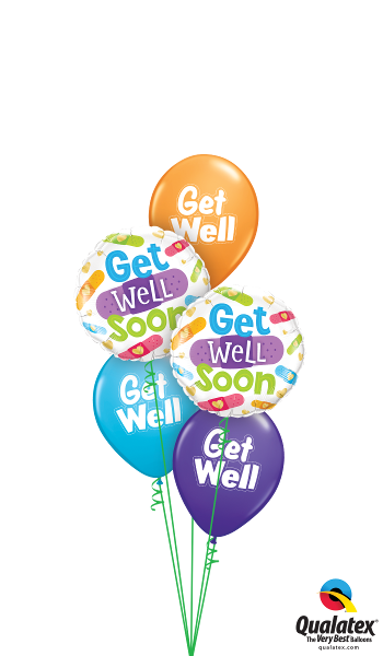 Get Well Foil & Latex Balloon Cluster