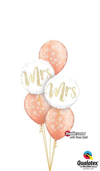 Mrs & Mrs Wedding Balloon Cluster