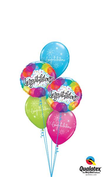 Congratulations Foil & Latex Balloon Clusters
