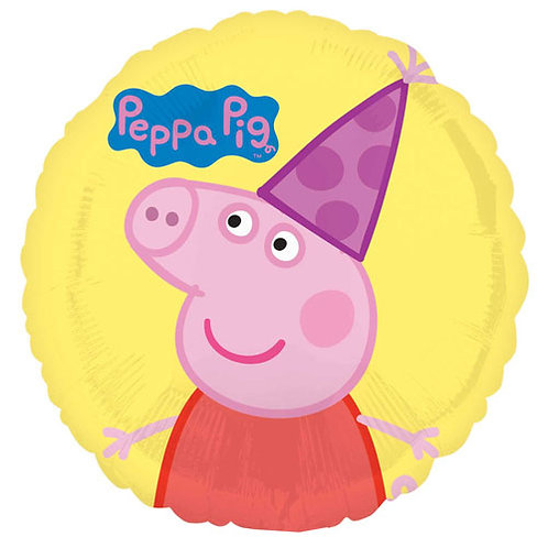 """Peppa Pig 2 Party Hat 18"""" Foil With 2 Latex To Match"""